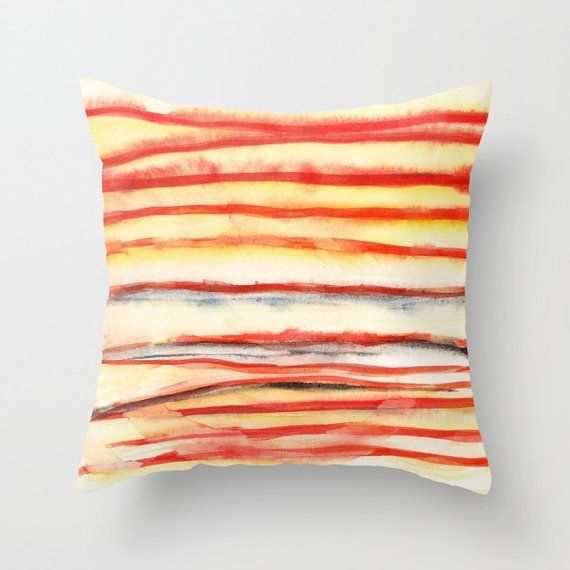 Red and white Cushion cover with fine art print. by studioRS
