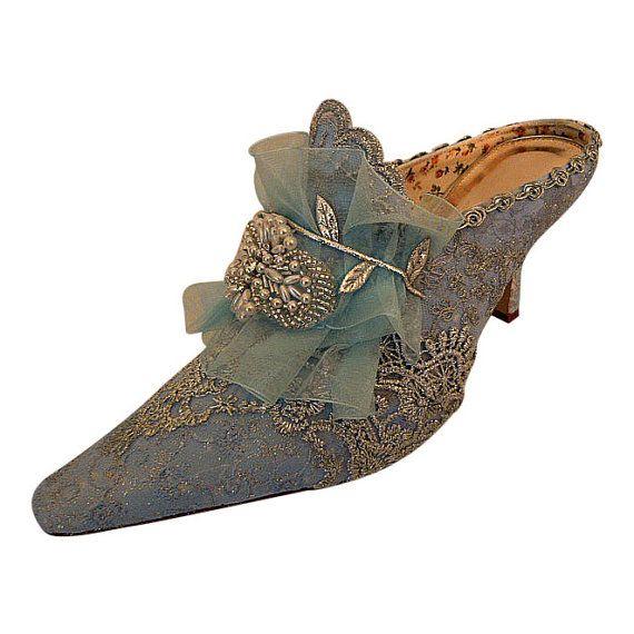 Marie Antoinette Hochzeitsschuhe… Etwas Blaues Brautschuhe… Silber Spitze… Vintage Spitze Schuhe… Niedrige Schuhe