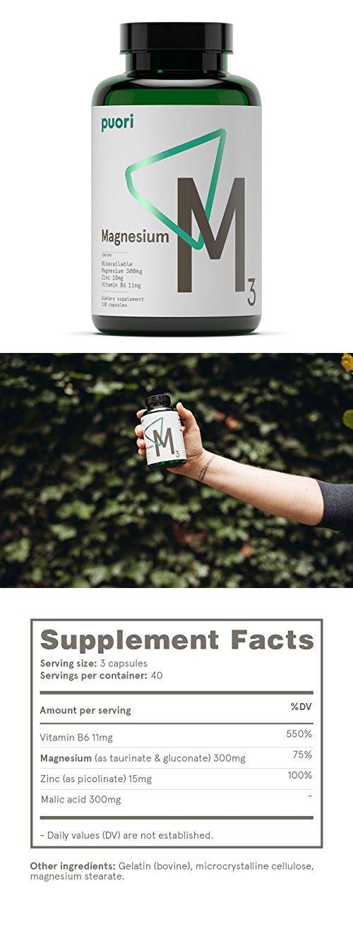 M3 Chelated Magnesium Gluconate + Taurinate, Zinc Picolinate, Vitamin B6, 120 Capsules