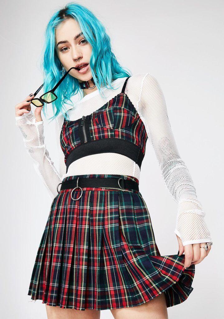 ac69212a20d042 Current Mood - Crimson Dress Code Plaid Skirt 02
