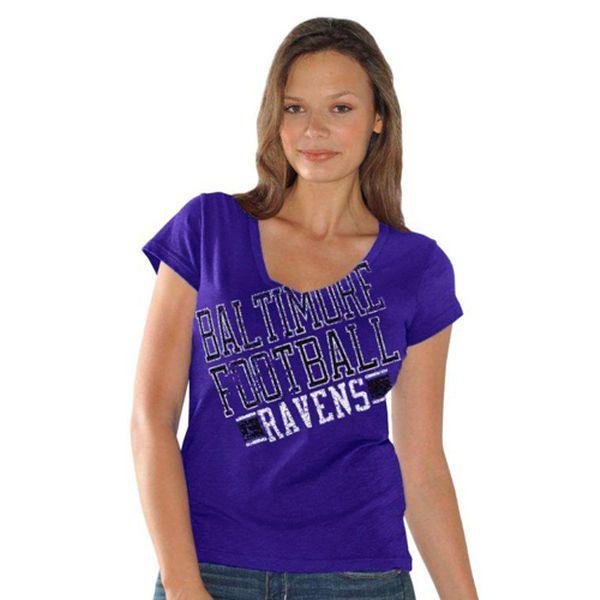 Baltimore Ravens Women's Fanfare V-Neck T-Shirt - Purple - $5.99