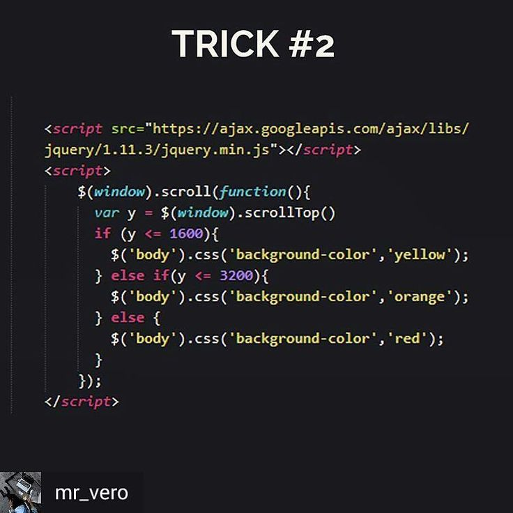@mr_vero | Follow him for more tricks - Let's play with a little jQuery trick Put this code before tag on your HTML code and let's see the magic. Scroll up and scroll down ! Tell me what you come up with  Happy code #html5 #webdeveloper #webdev #uxdesign #development #office #work #workspace #software #programming #programmers #mobile #rubyonrails #interface #appdesign #isetups #developer #coding #JavaScript #jquery #iot #linux