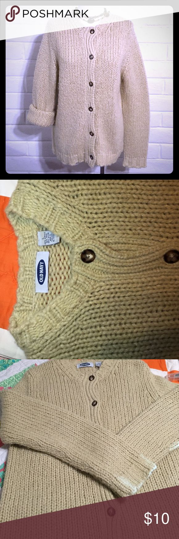 Old Navy Sweater Tan Tan Old Navy Sweater button down. Used but still would look great with a white t-shirt and jeans. Old Navy Sweaters Cardigans