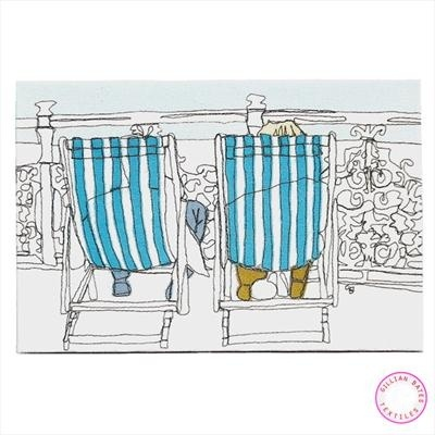 Deckchair Bathers  -  machine embroidered canvas by Gillian Bates #textile_art