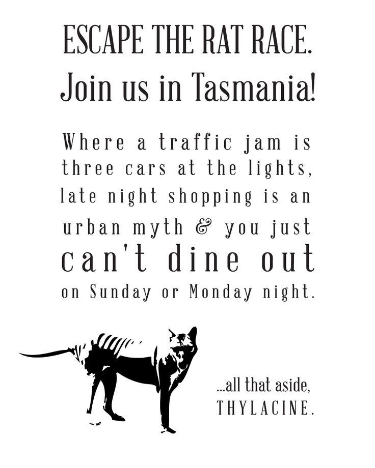 Escape the Rat Race - Tasmanian Tourist Market tea towel print- available now at our cellar door