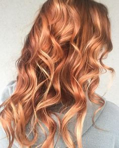 """""""Strawberries & Cream  Natural level 7, grown out blonde balayage, wanted to spice things up by going a bit darker, and she's loves red! Knowing she will…"""""""