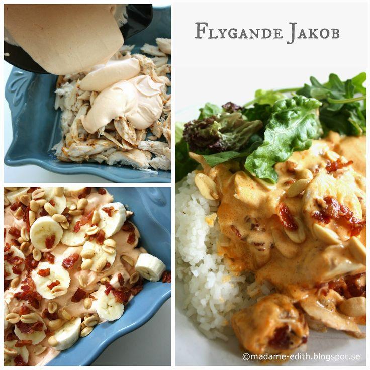 Madame Edith - Recept: Flygande Jakob - Gjord på färdiggrillad kyckling