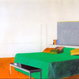 David Hockney, Bedroom, 1966 pencil and colored crayon on paper, 14 x 17 in.