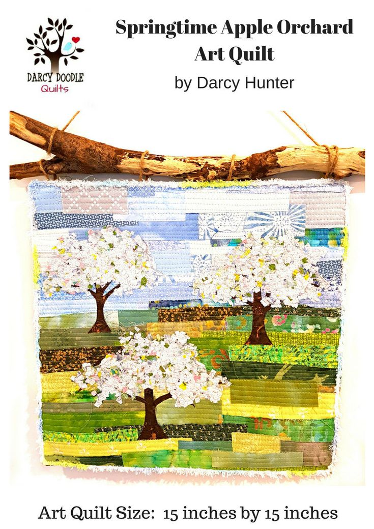 Springtime Apple Orchard PDF QUILT PATTERN / Quilt Pattern / Quilting Patterns / Gifts for Quilters / Art Quilt Patterns / Tree pattern by DarcyDoodleQuilts on Etsy