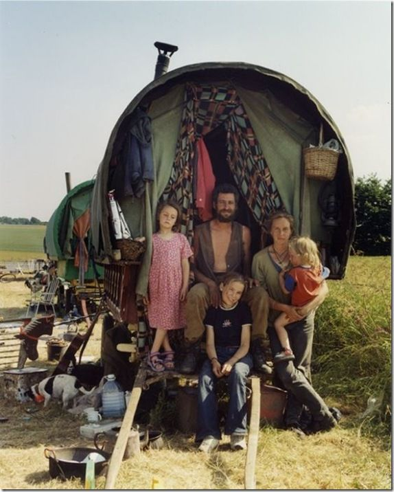 25 years ago, some punks had left London.  Protesting against the political leaders of that time, they moved to the countryside.  Their group eventually began to grow, becoming a real camp.The most interesting is that the community still exists.They live in wagons, which move across the country.