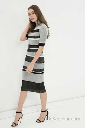 Koton Kışlık Elbiseler Siyah Uzun Kısa Kollu Çizgili | SadeKadınlar - Moda - SadeKadınlar - Moda