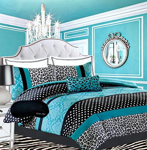 Another turquoise bedroom for teens! - Teen Girls Black Teal Bedding Comforter Damask Leopard FULL QUEEN Bedspread White Aqua Blue Set + Shams + Adorable Throw Pillow + Home Style Brand Sleep Mask Polka Dot Comforters Sets for Girl Kids