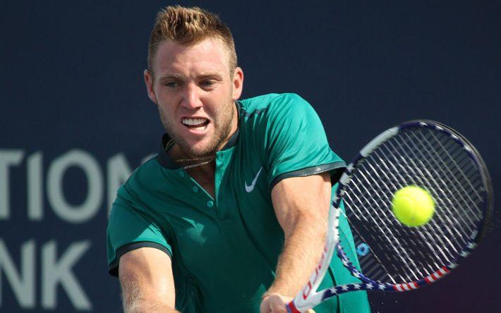 Descargar fondos de pantalla Jack Sock, pista de Tenis, tenista estadounidense, ATP, raqueta de tenis