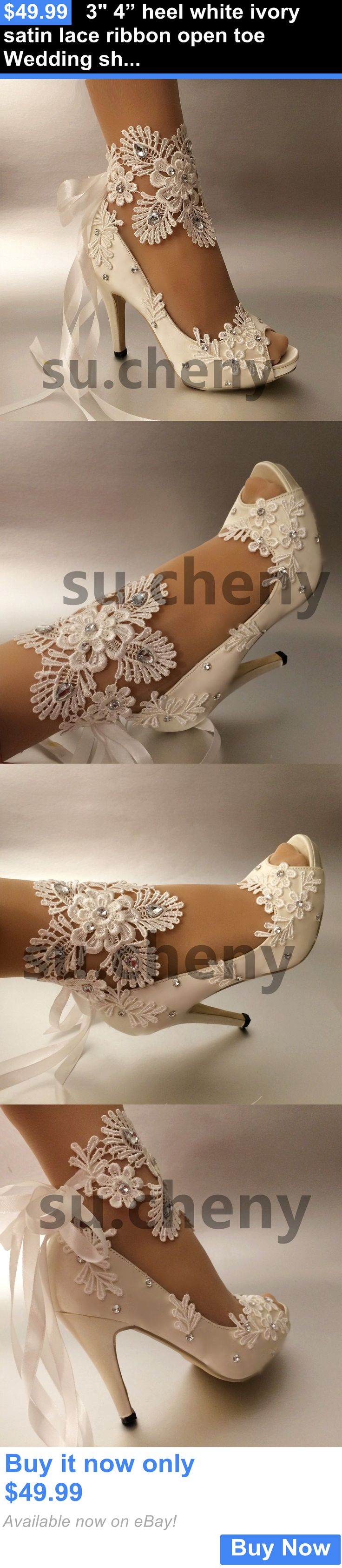 """Wedding Shoes And Bridal Shoes: 3 4"""" Heel White Ivory Satin Lace Ribbon Open Toe Wedding Shoes Bride Size 5-9.5 BUY IT NOW ONLY: $49.99"""
