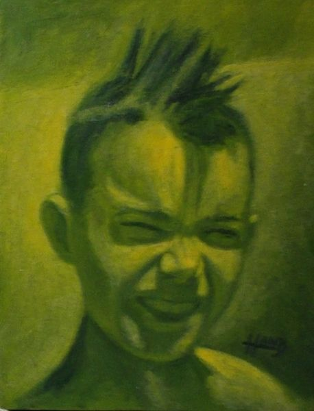 """Spiked Hair..10""""x 8"""".....2003...Oil Painting by...Greg Hand"""
