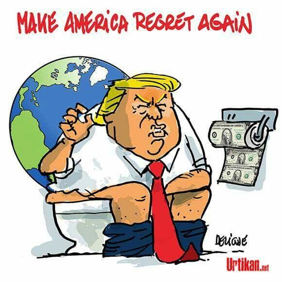 Deligne  (2017-06-02)   USA : Donald Trump : climato-fosse-septique Dessin de Deligne pour Urtikan.net  Le président américain renie l'accord historique conclu en décembre dernier par 195 pays, dont les Etats-Unis. Il sème la stupeur et la consternation dans le monde entier.