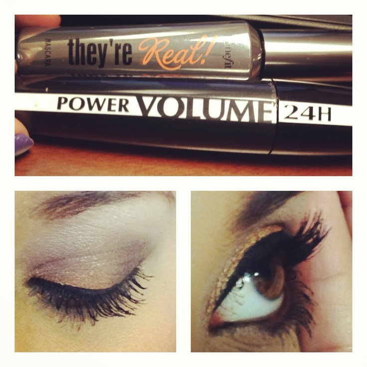 They're real by benefits and Loreal 24 hour volume mascara (the best mascara EVER from a drug store)
