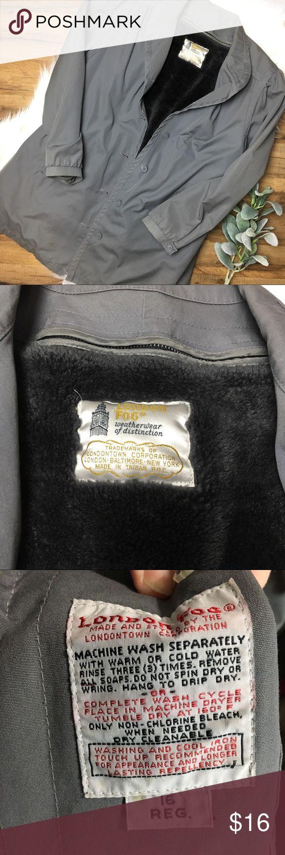 London Fog Faux Fur lined Coat London Fog Faux Fur Lined Coat Size 16 Fur lining can be removed. It is attached by a Zipper Has some spots & light discoloration. London Fog Jackets & Coats