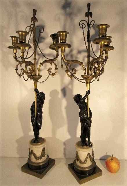 Paire De Candélabre Fin XVIIIème  Bronze et Marbre 69 cm