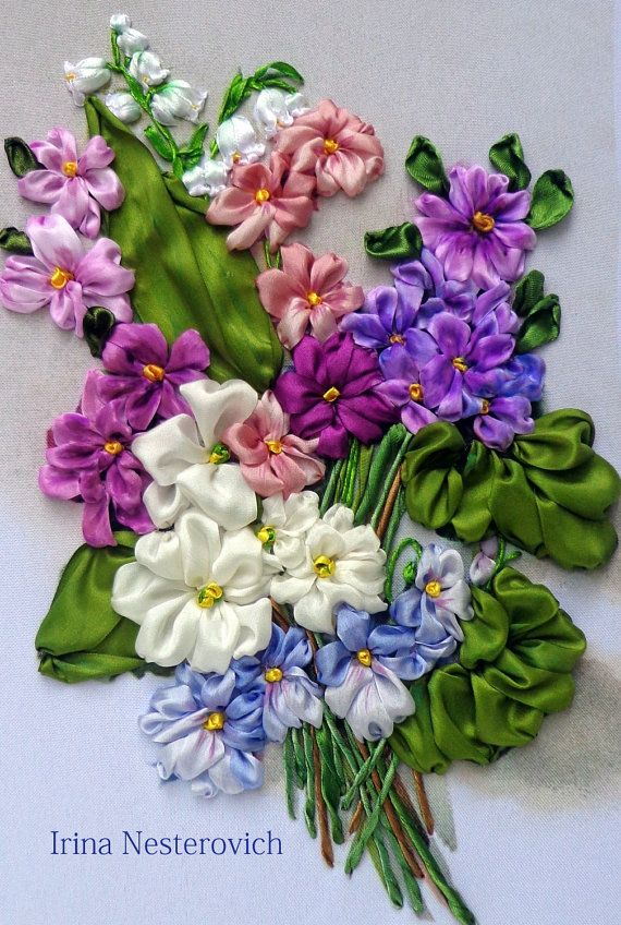 Flowers hand embroidered   Silk ribbon от RibbonEmbroiderySilk