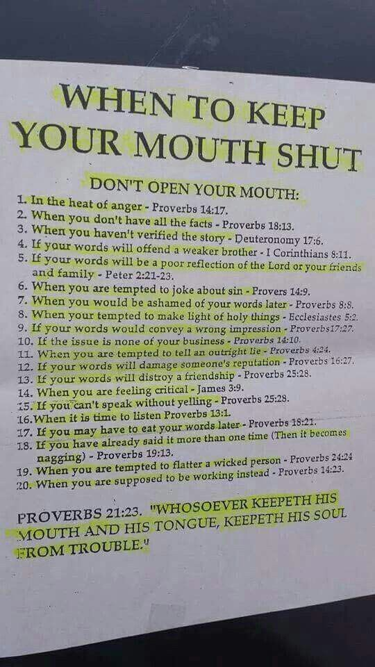 This is so me. When to keep your mouth shut.