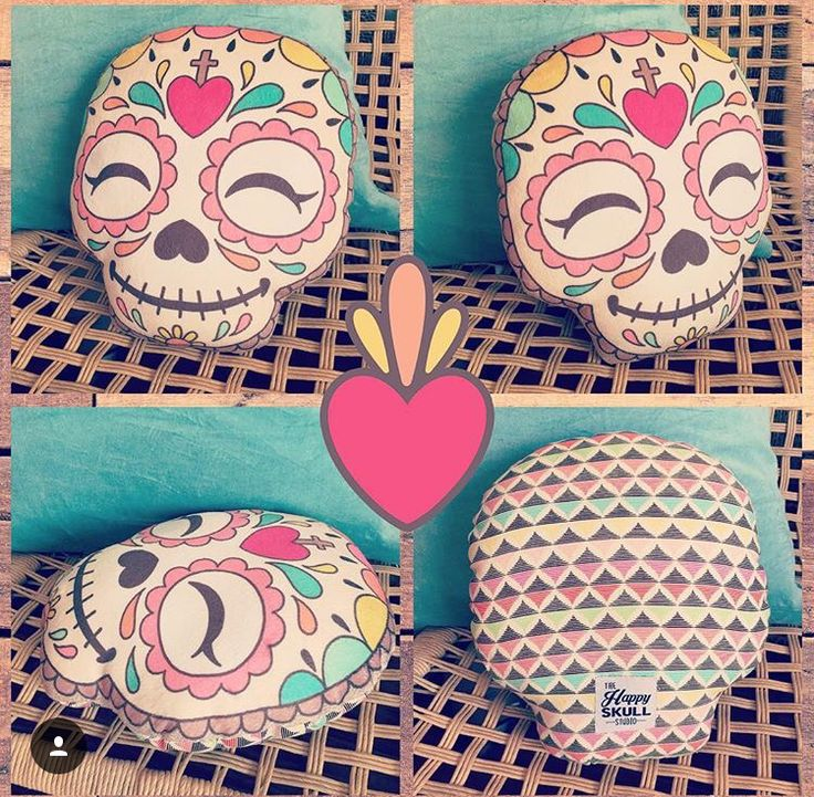 Cute sugar skull pillow by the Happy Skull Studio