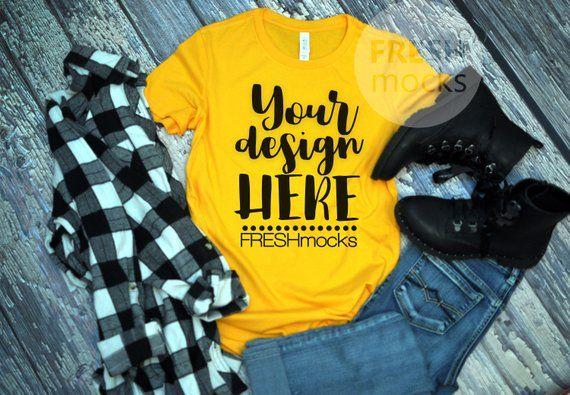 Download Bella Canvas 604 Ladies Tshirt T Shirt Tee Mockup Yellow Gold Tshirt Mock Up On Rustic Wood Background Buffalo Plaid Ladies Mockup Shirt Mockup Clothing Mockup Mockup Free Psd
