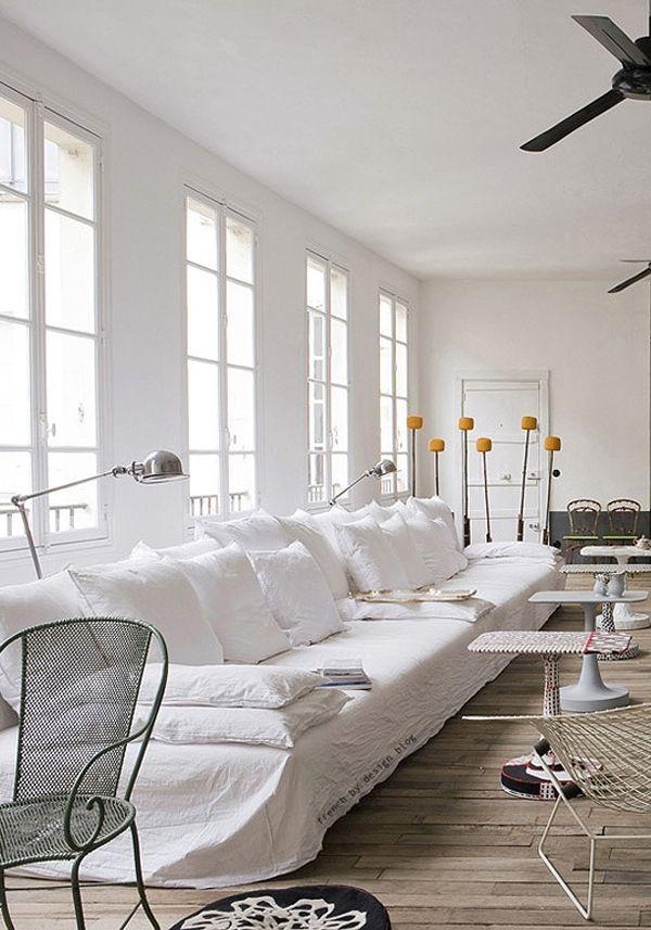 white sofa! Paola Navone's Gorgeous Parisian Apartment | Trendland: Fashion Blog & Trend Magazine