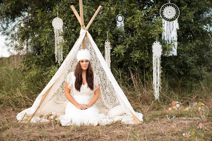 Enjoy luxe bohemian with our lace tee pee and dream catchers.