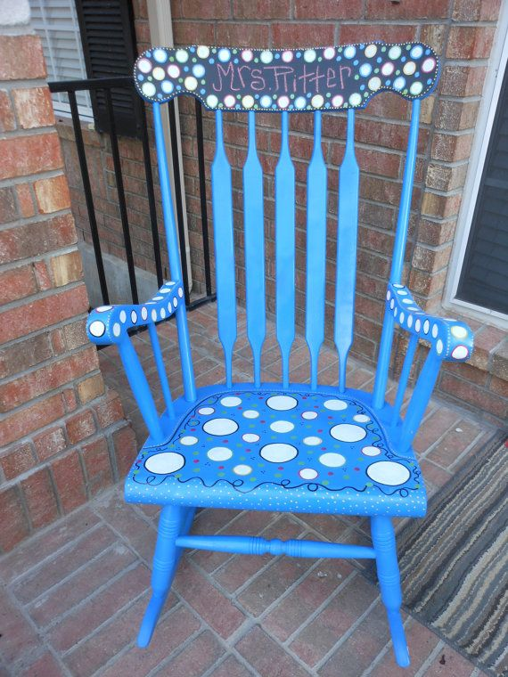 Rocking Chair Antique and painted Custom Order with Chalkboard TOP and painted to match your classroom or nursery