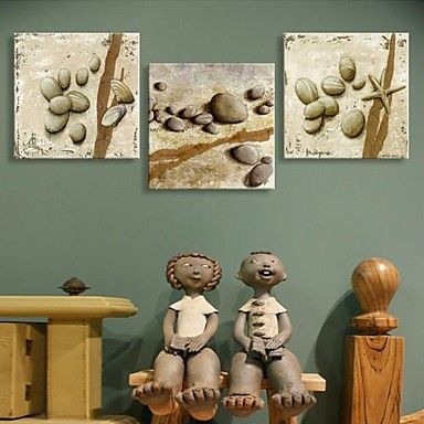 Stretched Canvas Art Stones And Shells Set of 3 – AUD $ 82.63