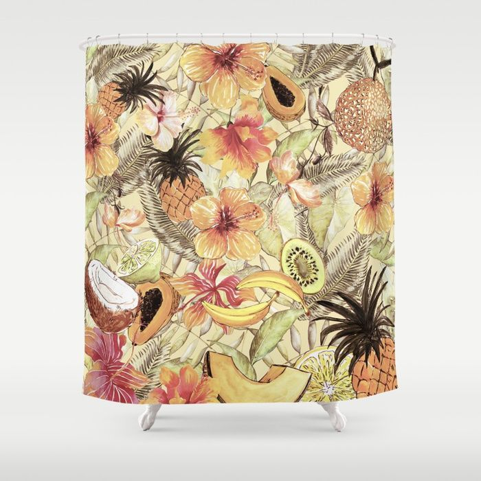 My Sepia Tropical Summer Hibiscus And Fruits Garden- Jungle Pattern Shower Curtain by originalaufnahme || #S6GTP ~ Created by one of my friends at Society6 -   Worldwide shipping available at Society6.com. Just one of millions of high quality products available.