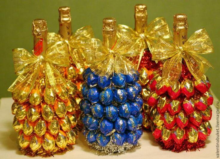 Украшение бутылок шампанского на новый год своими руками мастер класс
