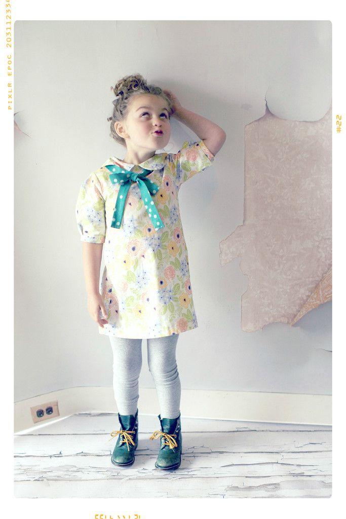 Floral bow peter pan collar girls shift dress with vintage polka dots by Fleur + Dot FleurandDot.com