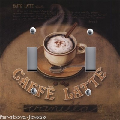 Details About Light Switch Plate Outlet Covers Kitchen Decor Steaming Cafe Latte Coffee
