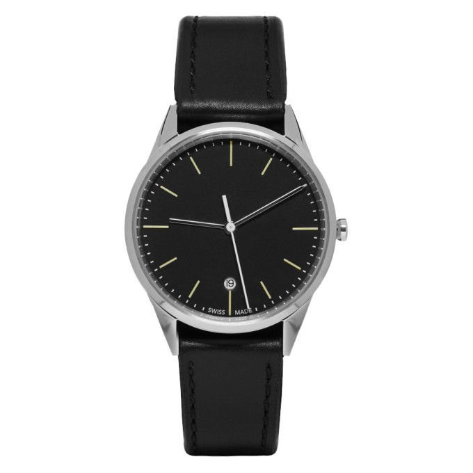 UNIFORM WARES Silver & Black Leather C36 Date Watch. #uniformwares #