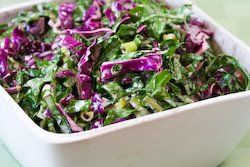 Recipe for Red Russian Kale and Red Cabbage Slaw from Kalyn's Kitchen