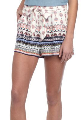 Bebop Girls' Border Print With Soft Shorts And Sash - Ivory /Multi - Xs