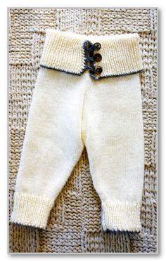 Вязание спицами. Длинные штанишки на высоком поясе с пуговицами. Размеры 0-3(6-9)9-12 месяцев