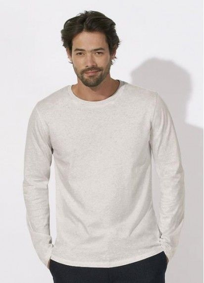 Kesper in Cream Heather Grey. Get some winter warmth with the long sleeve men's tee that's fair trade, organic cotton. Made in Bangladesh.