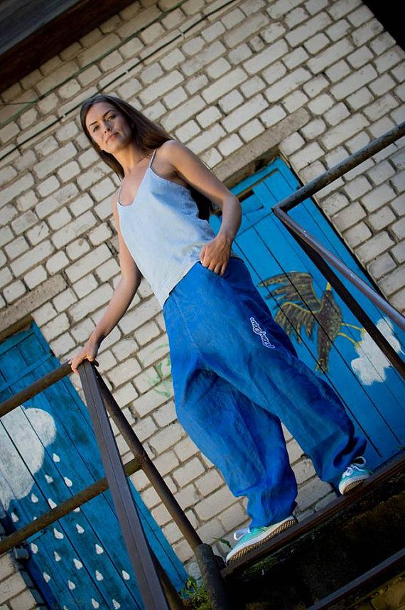 Linen pants // Baggy Unisex  Bright Blue Linen Pants // Yoga pants // Harem pants // Light blue pants // Linen trousers