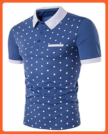 Fulok Mens Dot Print Short Sleeve Sports Splice Soft Polos Tee Small Blue - Sports shirts (*Partner-Link)