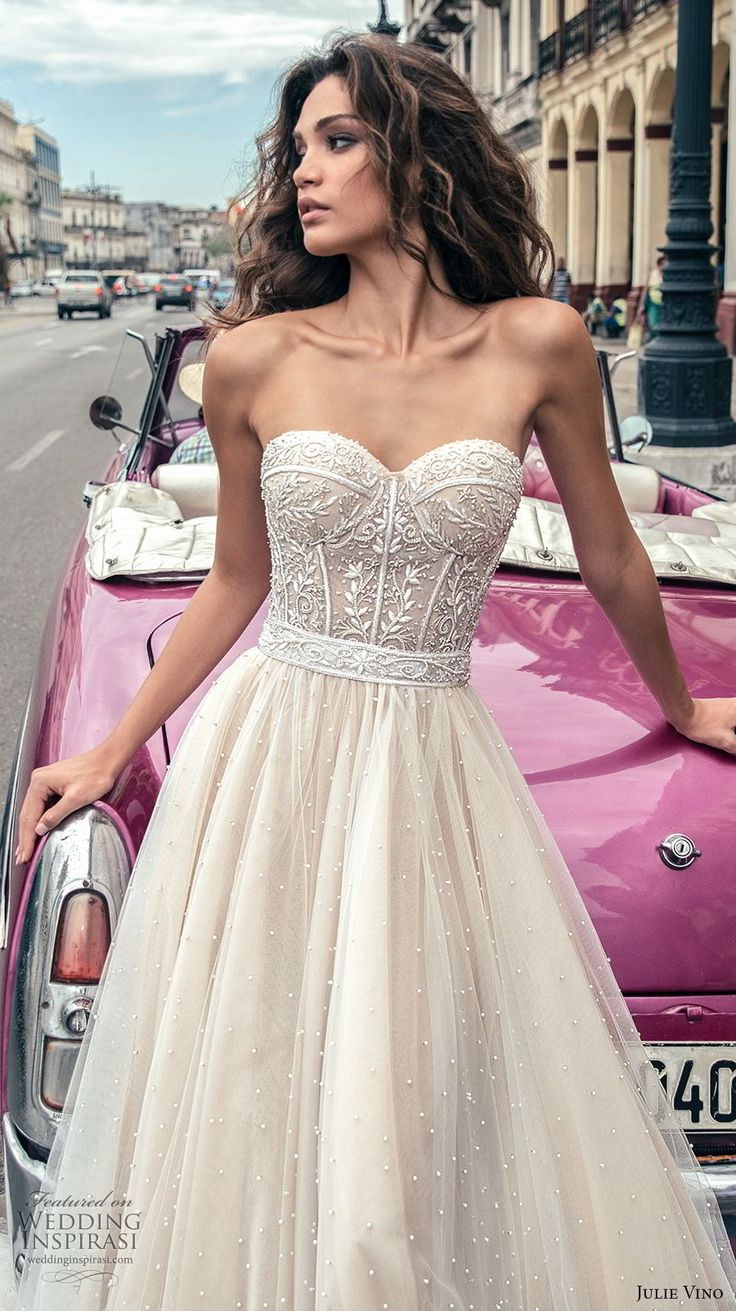 julie vino fall 2018 havana strapless sweetheart neckline heavily embellished bodice tulle skirt romantic soft a  line wedding dress open back chapel train (6) zv -- Julie Vino Fall 2018 Wedding Dresses