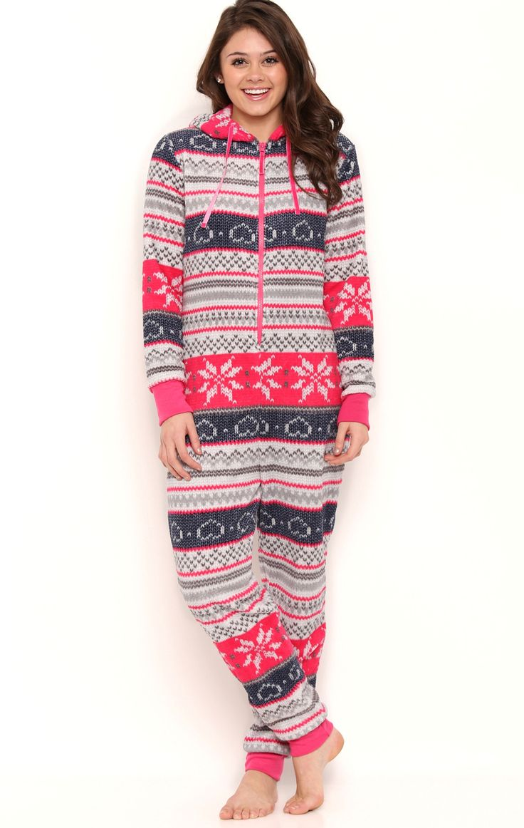 Deb Shops Plush Onesie with Fair Isle Print and Hood $25.00