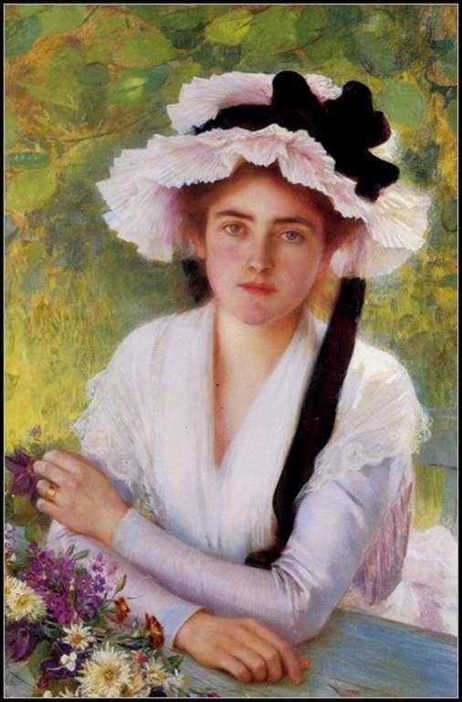 Femmes à chapeau (112) Vicente Lopez Y Portana (1772-1850) Au jardin mascarade Portrait de femme Le jardin