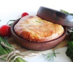 Пирог с черемшой, яйцами на кеци (Wild Garlic and Eggs Pie in Ketsi)