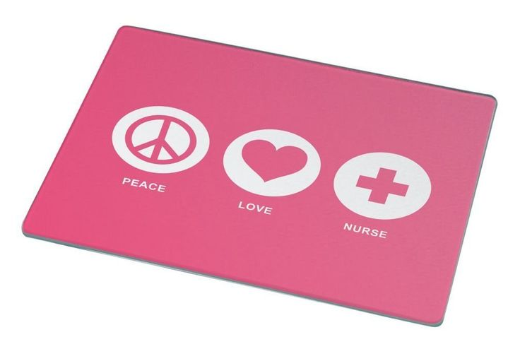 Rikki Knight Peace Love Nurse Tropical Pink Color Large Glass Cutting board Workspace Saver (Ideal Gift for Barbecues Grills or any occassion) ** Startling review available here  : Cutlery Knife Accessories