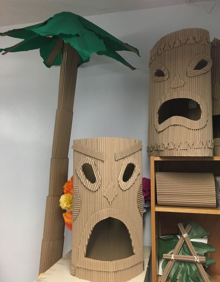 Our school is having a luau-themed auction this year. I bought a roll of cardboard from Uline to make tiki statutes but since I had so much leftover, I decided to try making a palm tree.  &nbs…