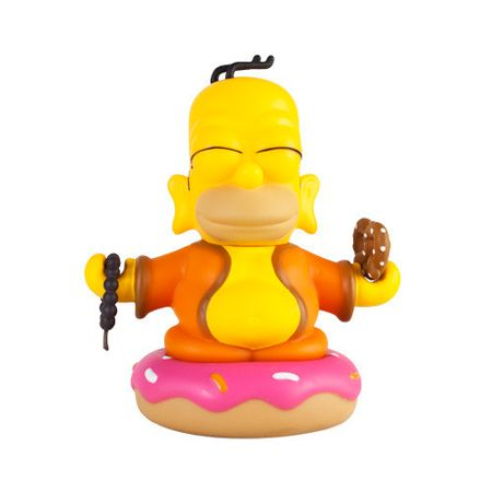Simpsons 3inch Homer Buddha - Mmmmm. Enlightenment.<p>Long ears signify past wealth, a big head represents the disconnection between mind and body, a tuft of hair symbolizes great inner wisdom, and a giant fried dough topped with pink frosting and rainbow jimmies equals deliciousness.<p>With a pretzel in one hand, and beads in another, Homer passes down the oral tradition of donut eating.