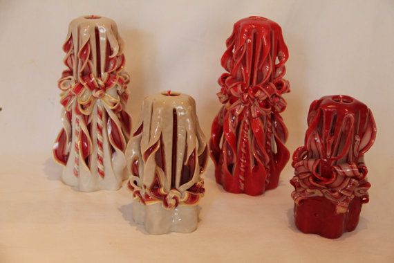Carved Pillar Candle in Red Gold.   Small 6 x 3 by artofcandles, £11.99